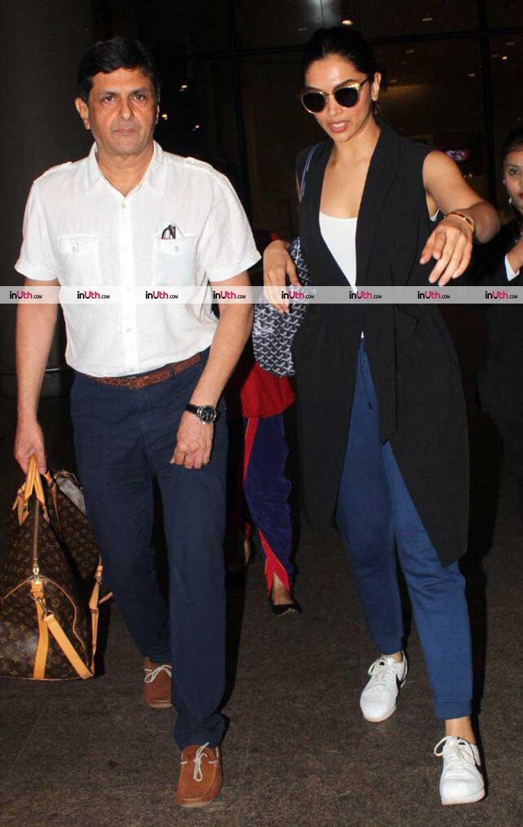 Deepika and Prakash Padukone at Mumbai airport
