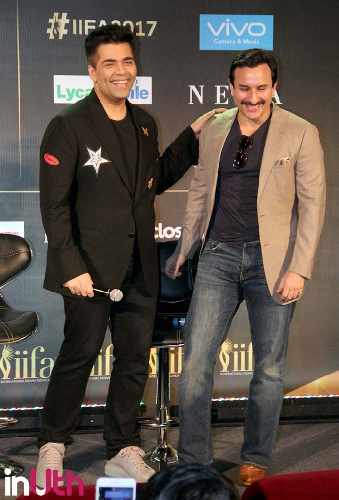 Karan Johar and Saif Ali Khan at IIFA 2017 press conference