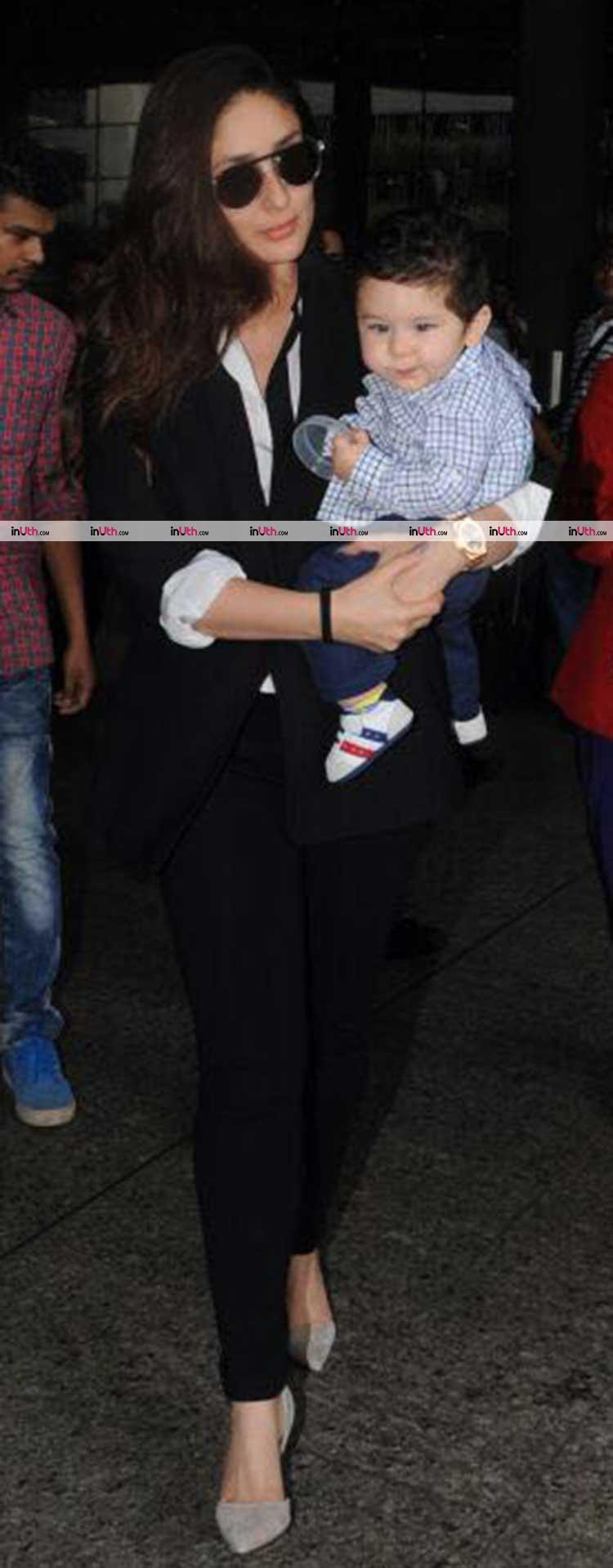 Kareena Kapoor and son Taimur Ali Khan spotted at Mumbai airport