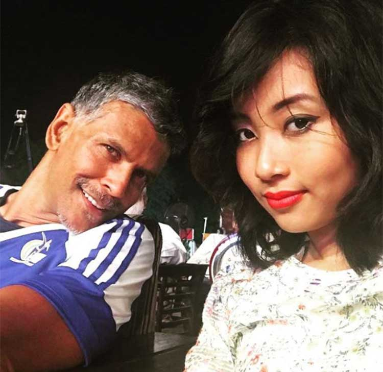 Milind Soman poses for a selfie with his girl