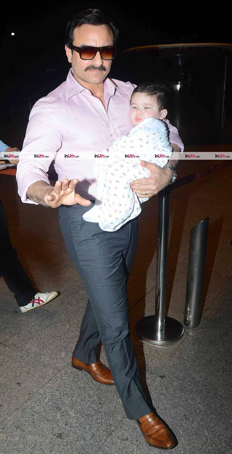 Sleepy head Taimur snapped with father Saif Ali Khan