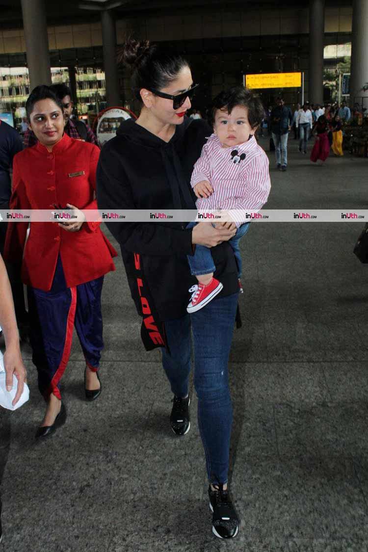 Taimur and Kareena Kapoor Khan snapped at the airport on January 8