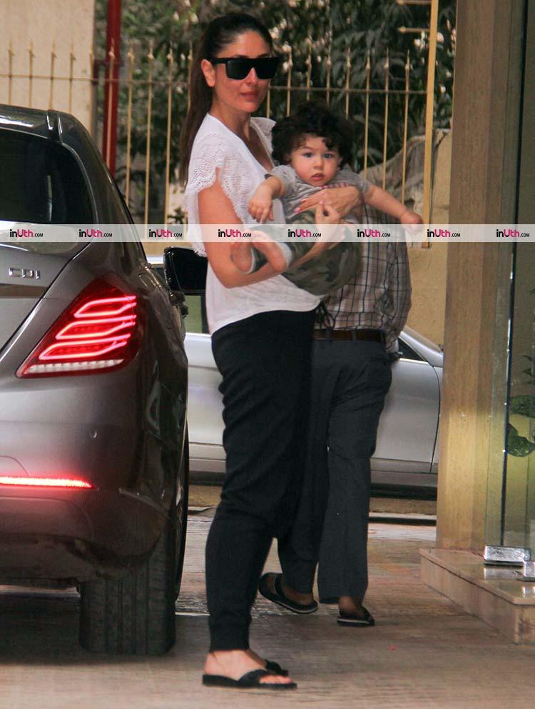 Taimur and Kareena Kapoor Khan strike a pose for the cameras