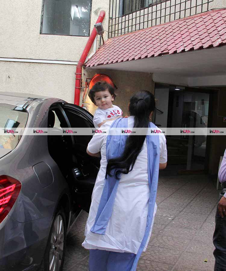 Taimur giving the cutest looks to the cameras in Bandra