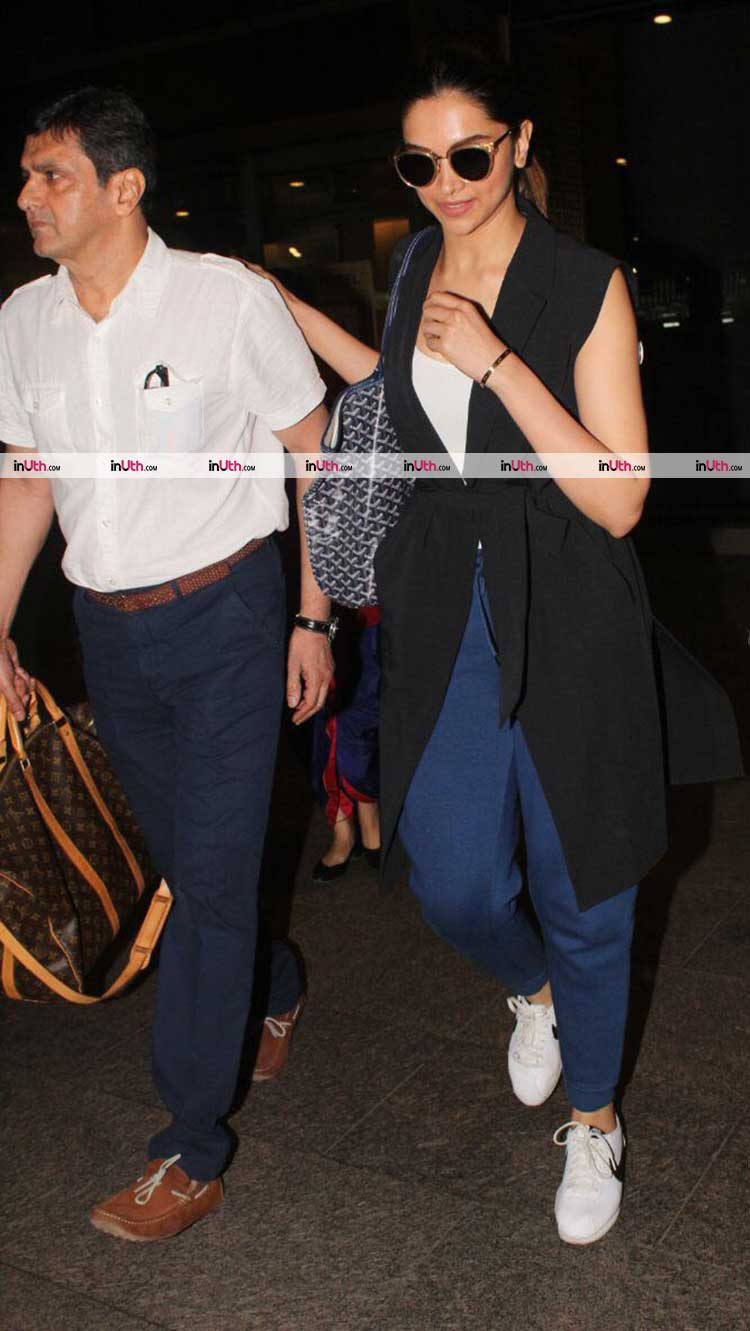 Deepika Padukone escorting her father at the airport