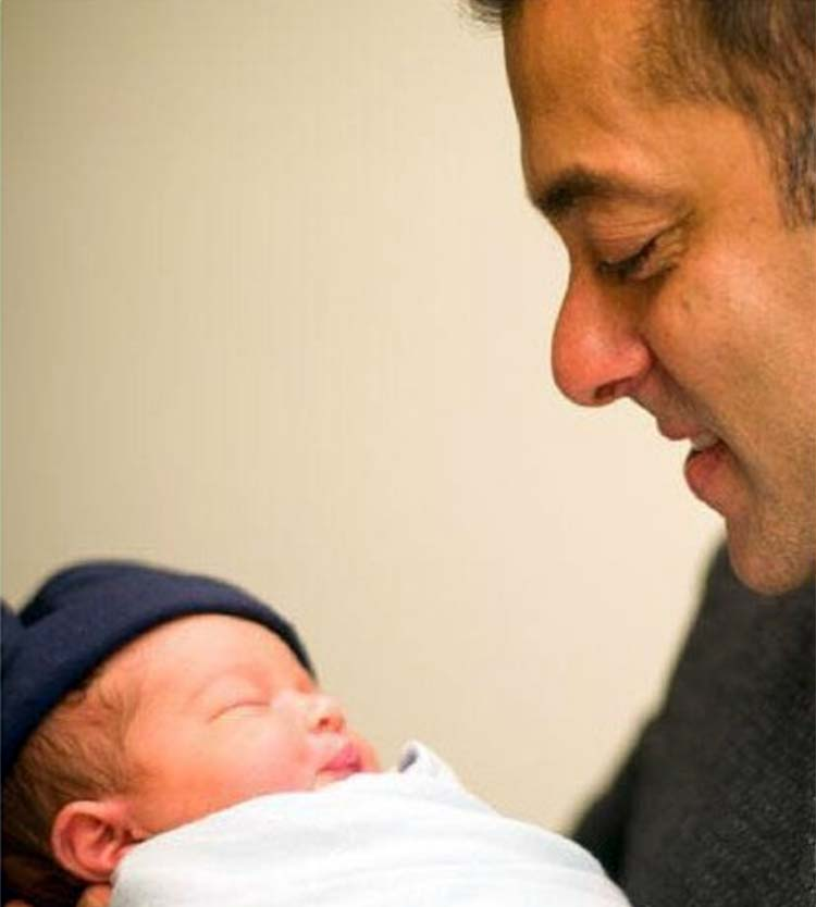 Salman Khan admiring baby Ahil