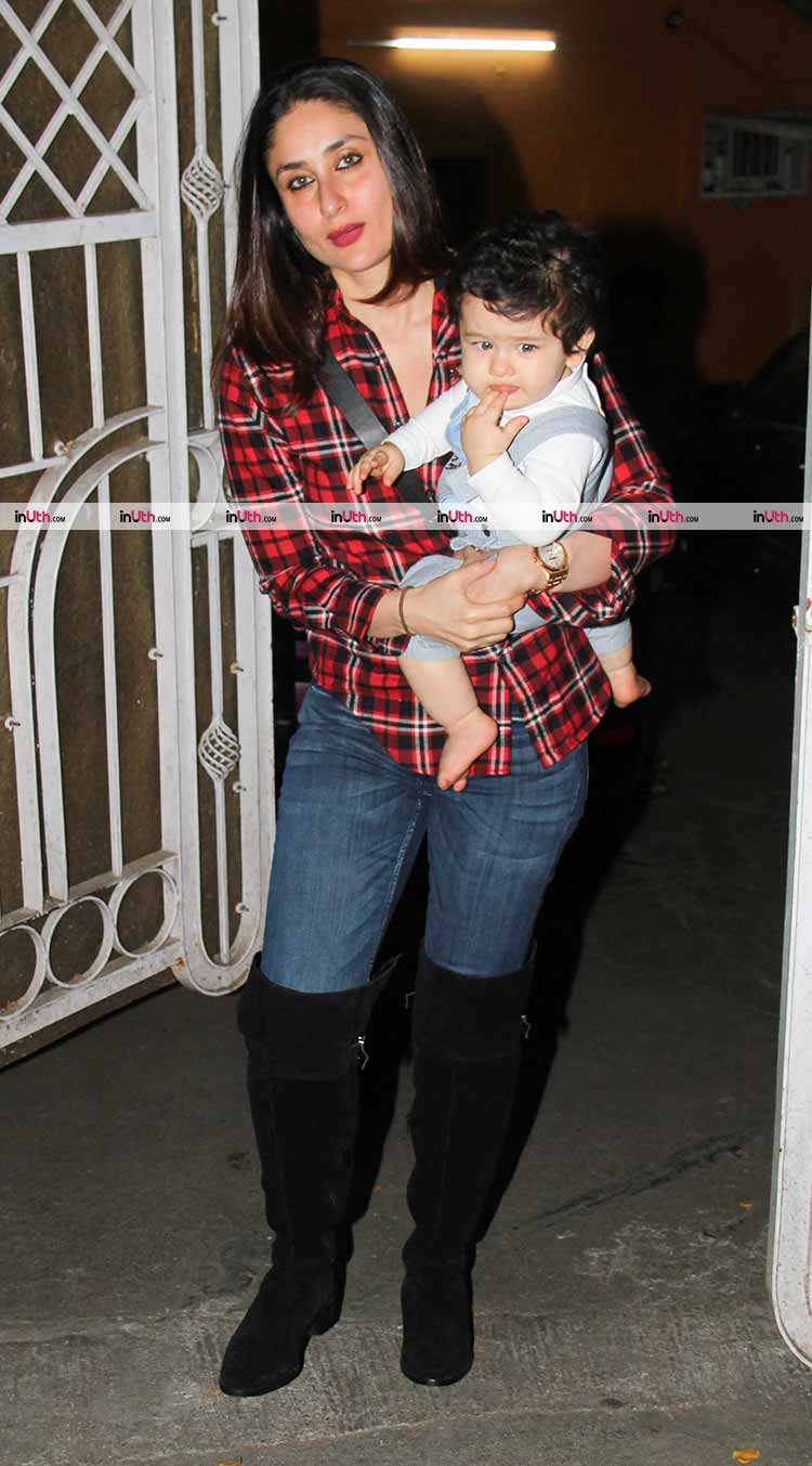 Taimur Ali Khan looks like a doll in his mother's arm in this pic from Tuesday night