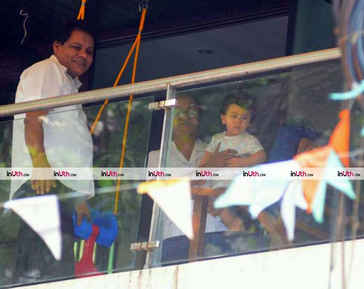 Taimur Ali Khan snapped at his balcony with nanny