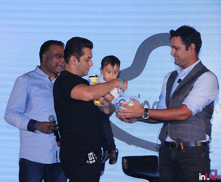 Ahil with Salman Khan at Being Human bike launch