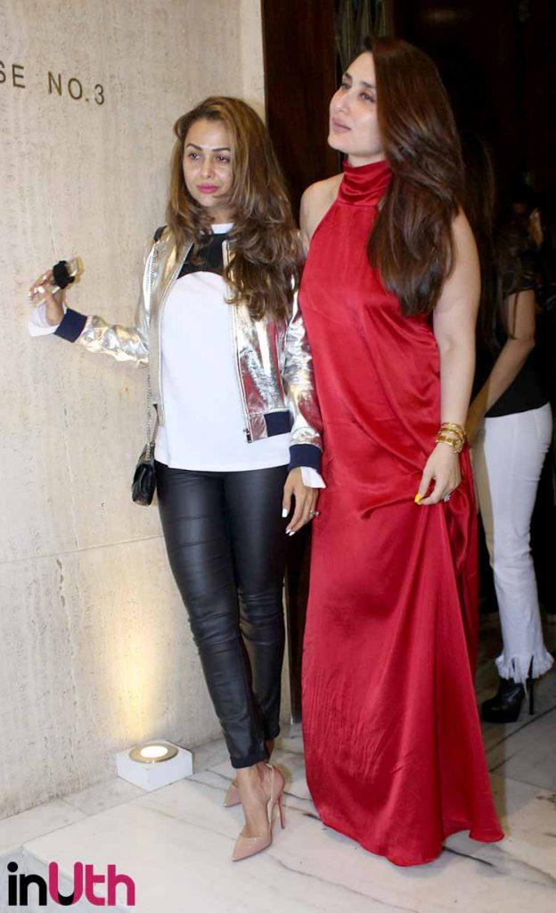 Kareena Kapoor posing with Amrita Arora at Manish Malhotra's party