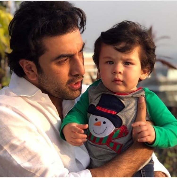 Little star Taimur with mamu Ranbir Kapoor at the Christmas party