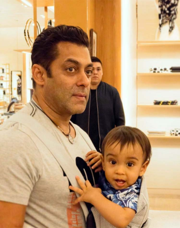 Salman Khan with his nephew Ahil