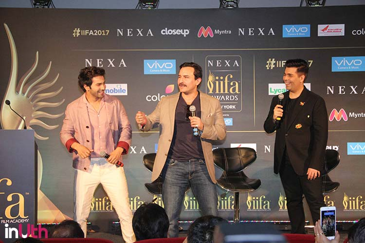 Varun Dhawan, Saif Ali Khan, Karan Johar enjoying the IIFA press conference