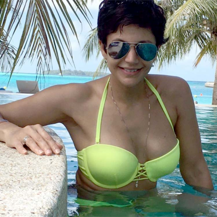 Image result for ;Mandira Bedi Denim Bikini