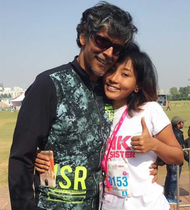 Milind Soman with his pretty girlfriend
