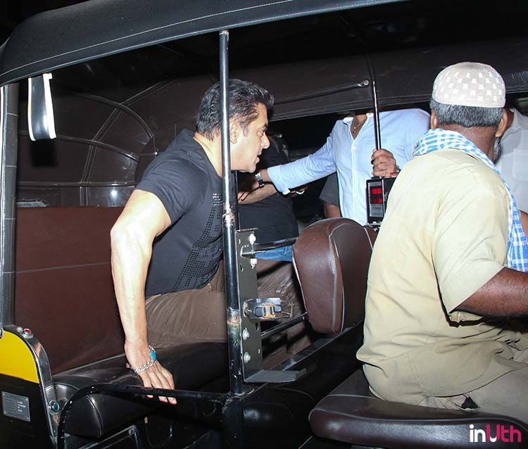 Salman Khan getting into an auto