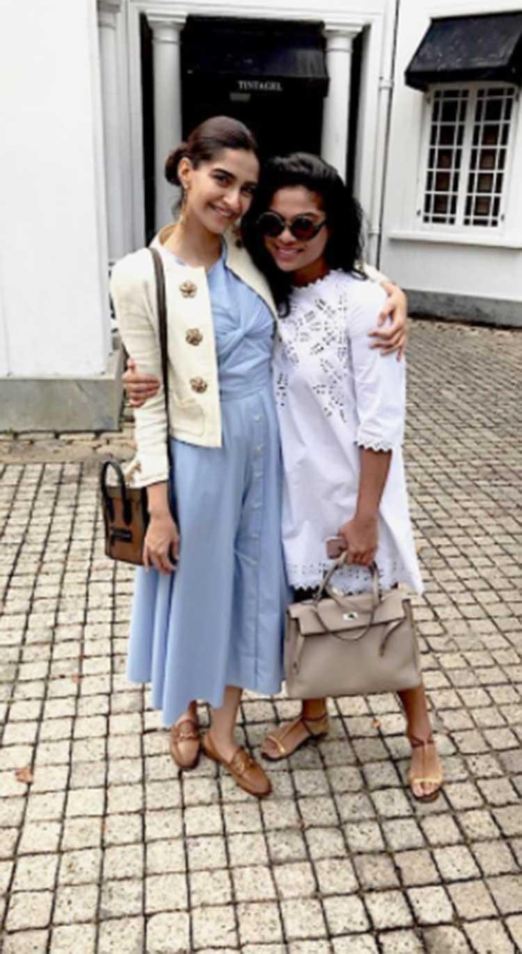 Sonam Kapoor with her friend Samyukta in Sri Lanka