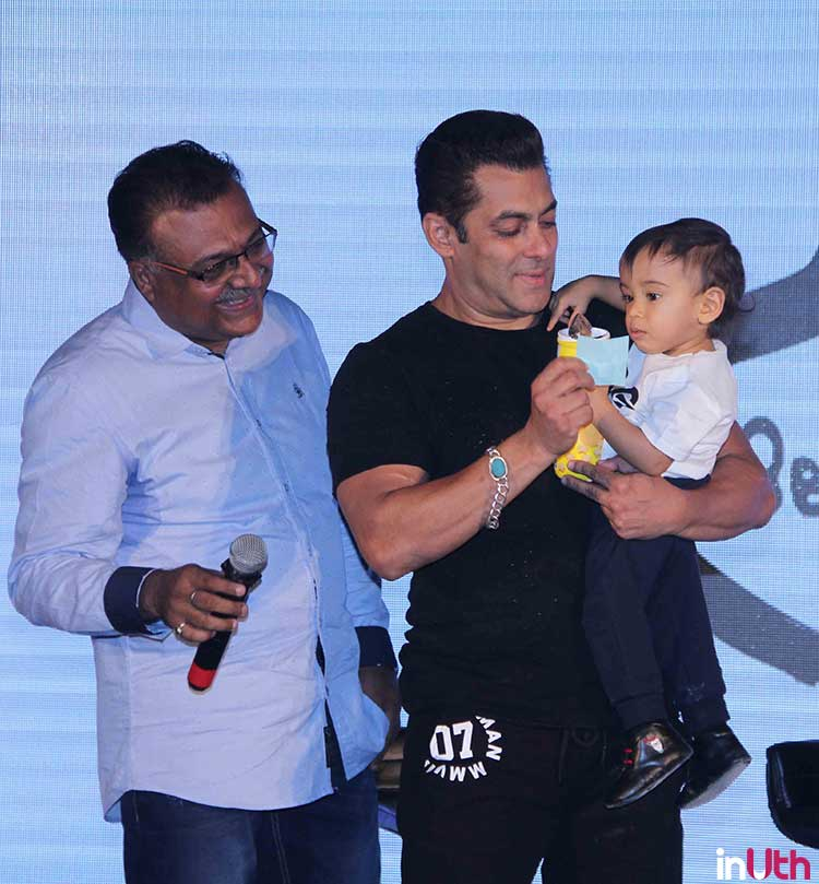 Salman Khan playing with Ahil at Being Human bike launch