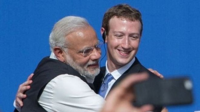 Narendra Modi hugs Mark Zuckerburg