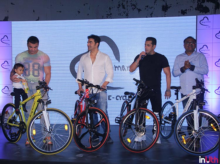 Ahil sits on the newly launched Being Human bike