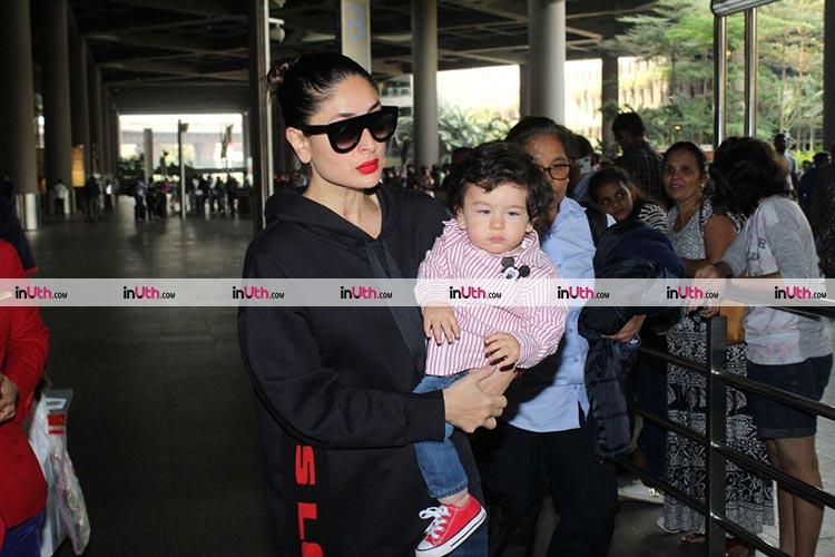 Taimur and Kareena Kapoor at airport on Monday, January 8, 2018