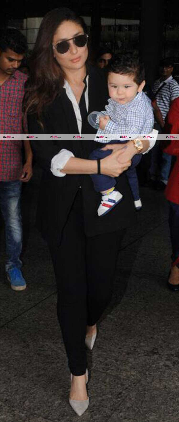 Taimur spotted with mommy Kareena Kapoor Khan at the Mumbai airport