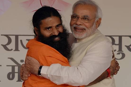 PM Modi hugs Ramdev baba