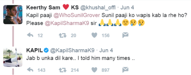 Kapil Sharma's reply on Sunil Grover to a fan