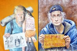 Trump, Putin, Obama make it to this 'canvas of war' painted by a Syrian refugee [Photos]
