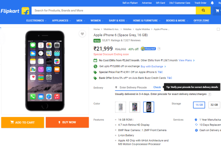 Flipkart is offering the iPhone 6 for Rs 21999