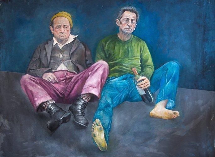 Francois Hollande and Nikolas Sarkaozy as refugees by Abdalla Al Omari