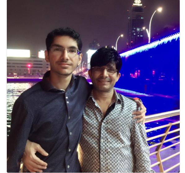 KRK with his son, Faisal