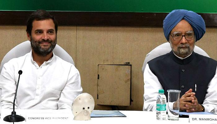 Manmohan Singh, Rahul Gandhi IANS photo