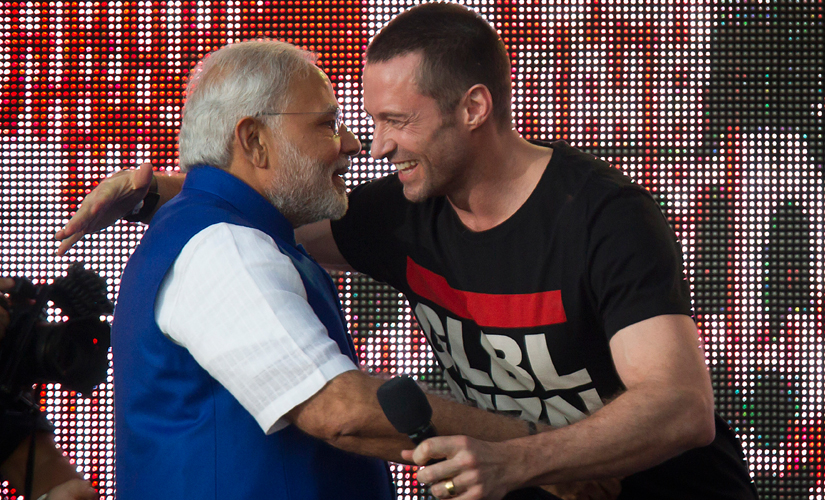 PM Modi hugs Hugh Jackman