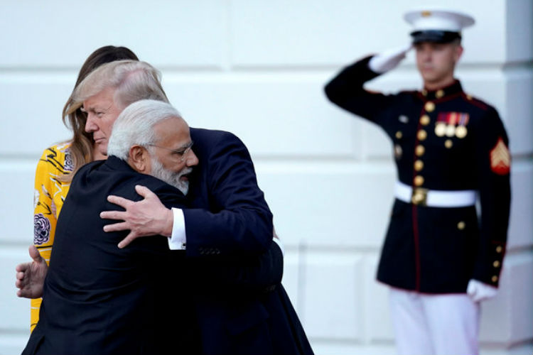 Narendra Modi hugs President Donald Trump at the White House