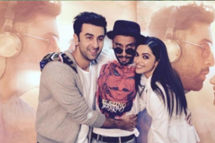 Ranveer Singh Ranbir Kapoor and Deepika Padukone during promotions of Tamasha