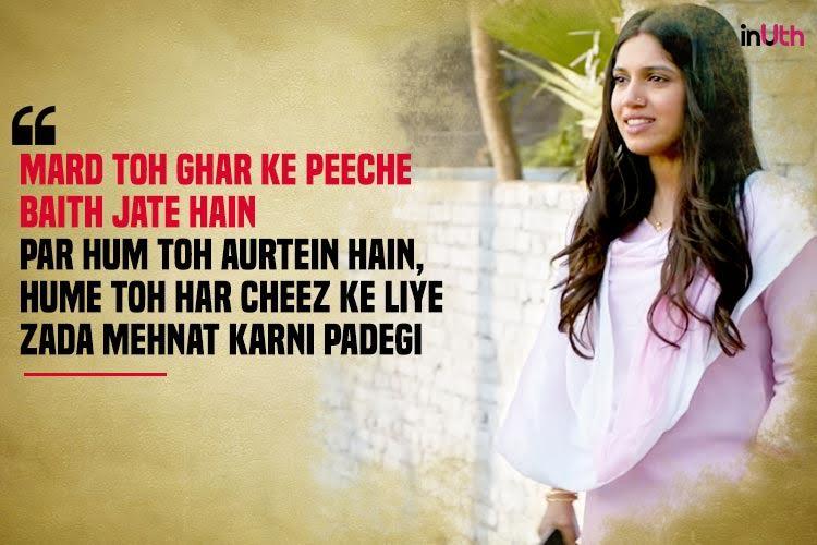 Bhumi Pednekar, Toilet Ek Prem Katha, dialogues