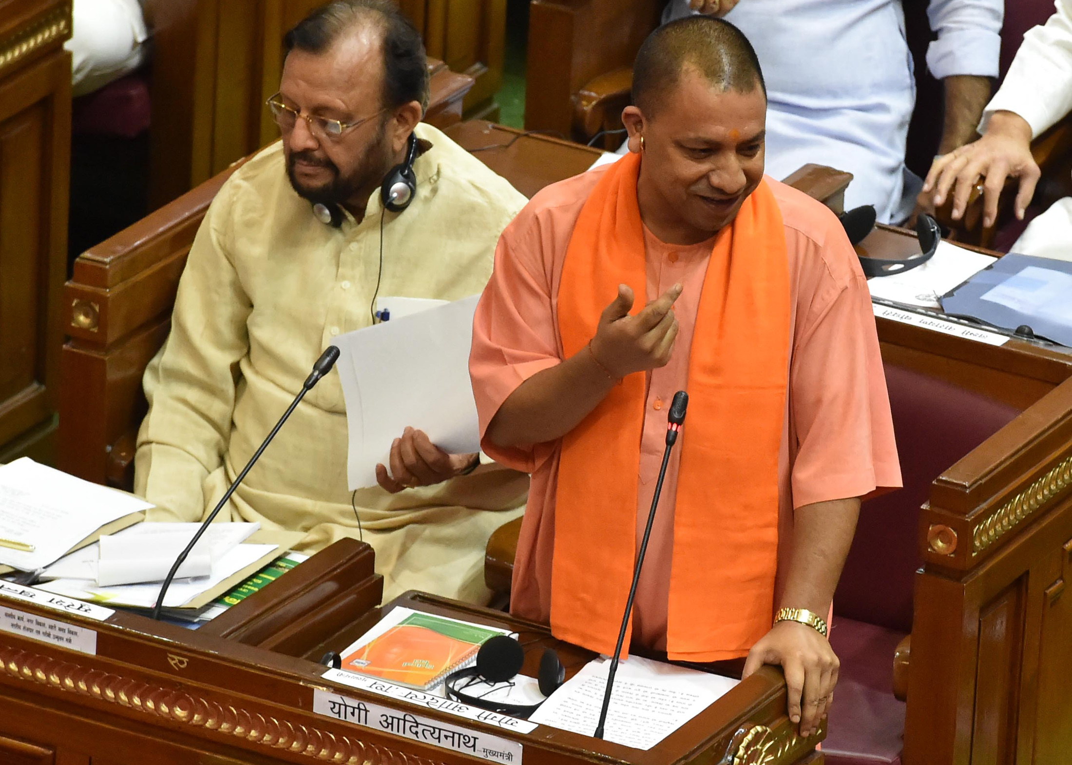 Uttar Pradesh Chief Minister Yogi Adityanath addressing UP state assembly in Lucknow