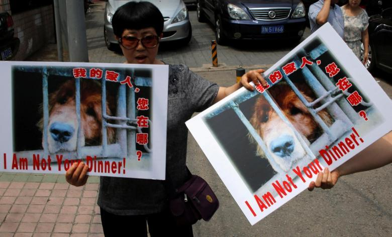 Animal activists hold banners against Yulin Dog Meat Festival in front of Yulin City Representative office in Beijing, China, June 10, 2016. REUTERS/Kim Kyung-Hoon