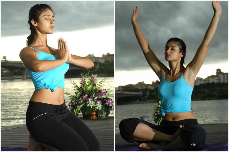 Ileana D'Cruz performing yoga