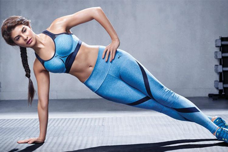 Jacqueline Fernandez performing yoga