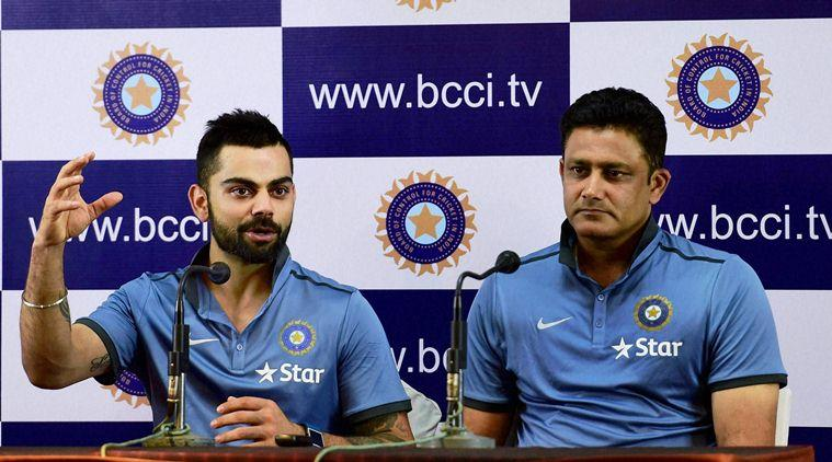 Bengaluru: Indian captain Virat Kohli and Head Coach Anil Kumble during a press conference  (PTI)