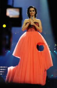 In November 2009, Katy Perry in a remarkably cut-out dress hosts the MTV Europe Music Awards in Berlin, Germany.