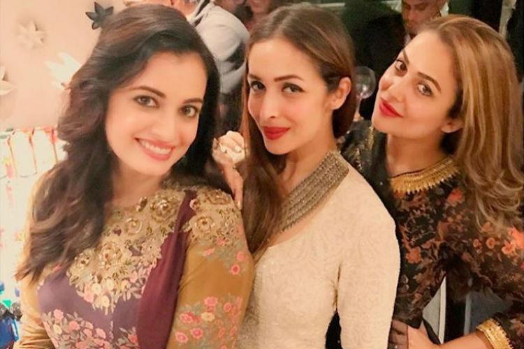 Amrita Arora, Diya Mirza and Malaika Arora at Salman Khan's Eid party