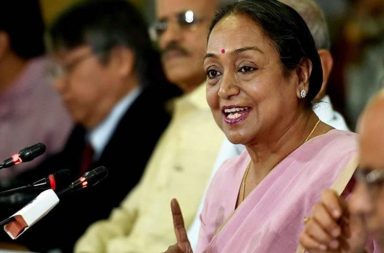 Kolkata:Former Lok Sabha Speaker Meira Kumar addressing at Merchants' Chamber of Commerce & Industry during an interactive session on 'Challenges of Parliamentary Democracy in India'  in Kolkata on Saturday. PTI Photo by Swapan Mahapatra (PTI5_6_2017_000054b)