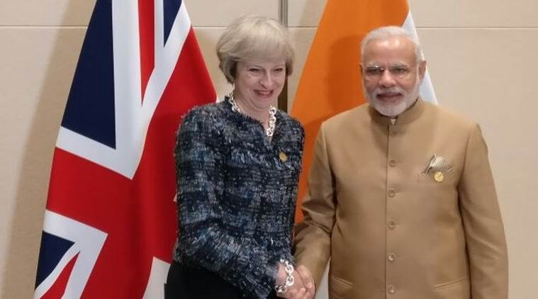 Prime Minister Narendra Modi with Britain's Prime Minister