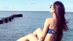 Mouni Roy poses in a blue bikini top and it will set your heart racing - See Photo