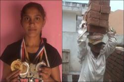 Once a gold medalist, this Indian sportstar now works as a labour for survival