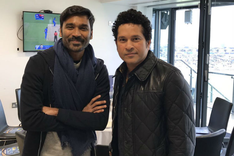 Dhanush with Sachin, Champions Trophy