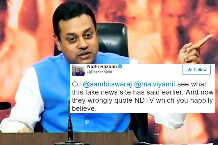 BJP spokesperson Sambit Patra quotes Pakistani website